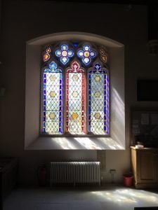 A window in the South Aisle following removal, restoration and replacement.